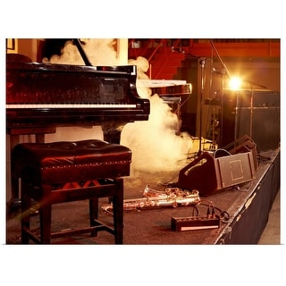 """""""Piano, Saxophone and Microphone Stands on a Smoky Stage"""" Poster Print"""