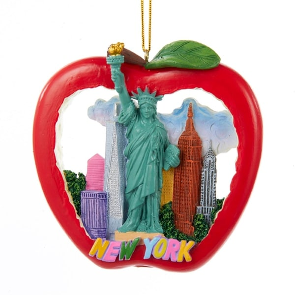 "4"" New York Apple with Skyline and Lady Liberty Decorative Christmas Ornament - RED"