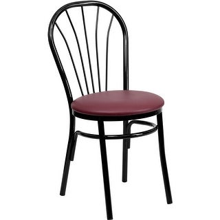 Dyersburg Fan Back Metal Chair - Burgundy Vinyl Seat