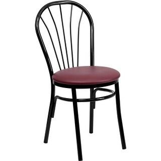 Dyersburg Fan Back Metal Restaurant/Pub/Bar Chair, Burgundy Vinyl Seat
