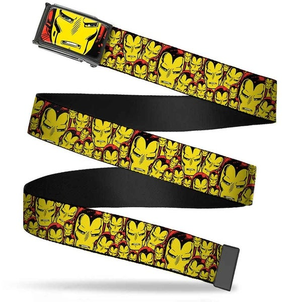 Marvel Comics Iron Man Face Fcg Red Yellow Chrome Iron Man Face Close Web Belt