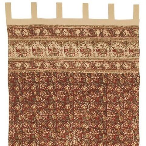Handmade Cotton Hand Block Elephant Print Tab Top Curtain Drape 44x88 Burgundy - red