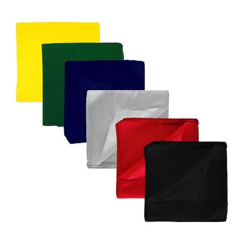 Solid 100% Cotton Unisex Bandana - 8 Pack - 22 in
