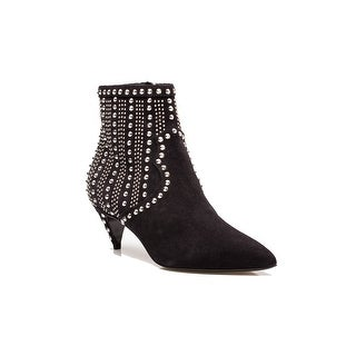 Saint Laurent Women's Metal Studded Suede Low Heel Booties Shoes Black