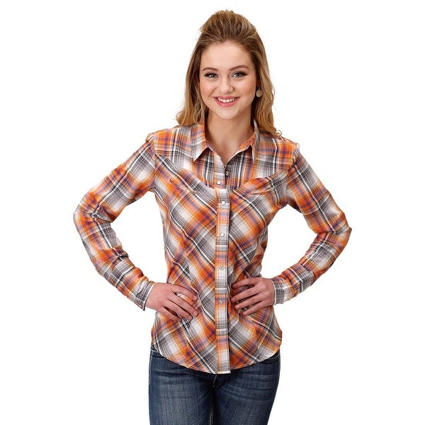 d45be1ee30 Shop Roper Western Shirt Womens L S Plaid Snap Orange - Free Shipping On  Orders Over  45 - Overstock.com - 19667129