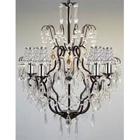 Versailles Wrought Iron Chandelier Lighting Empress Crystal Chandelier Lighting With Crystal Shades & Chrome Sleeves