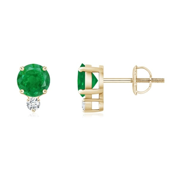 Angara Prong Set Diamond Emerald Halo Stud Earrings