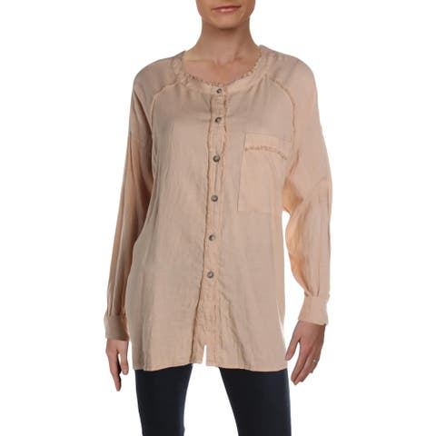 We The Free Womens Keep It Simple Button-Down Top Linen Blend Fringe