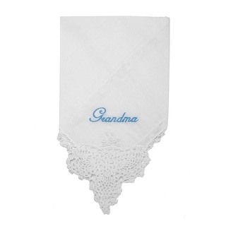 The Word Grandma on a Crochet Edged Hankie