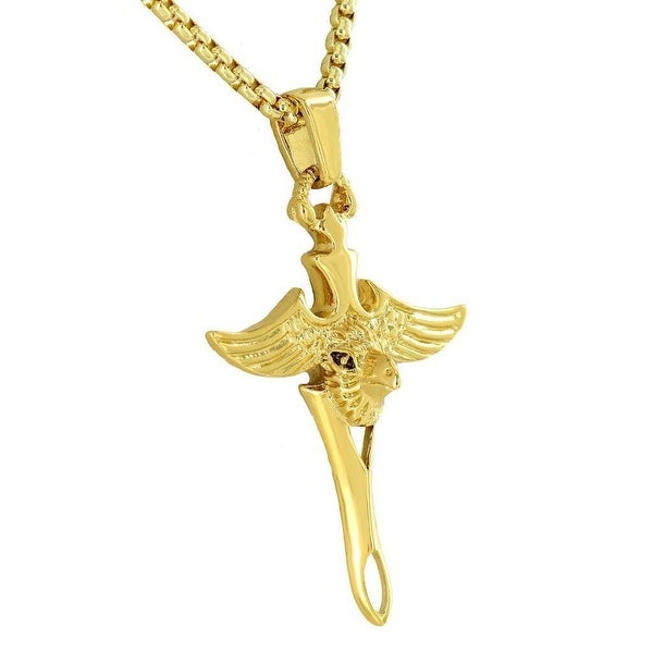 Unique Egyptian Horus Scarab Sword 18K Yellow Gold Tone With Free Stainless Steel Box Necklace