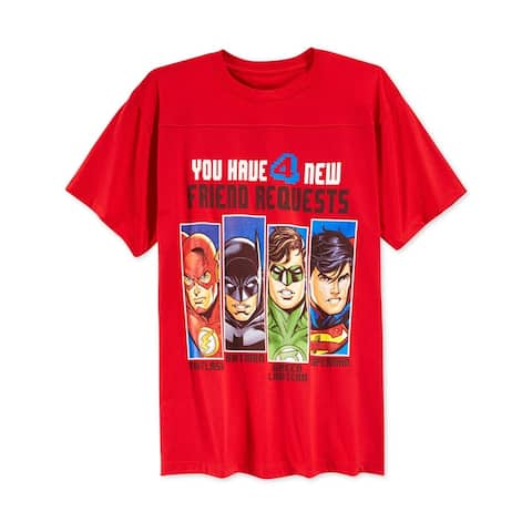 DC Comics Boys 'You Have 4 New Friend Requests' Graphic T-Shirt, Red, 2T