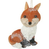 Brown and White Smiling Face Stuffed Fox Christmas Ornament
