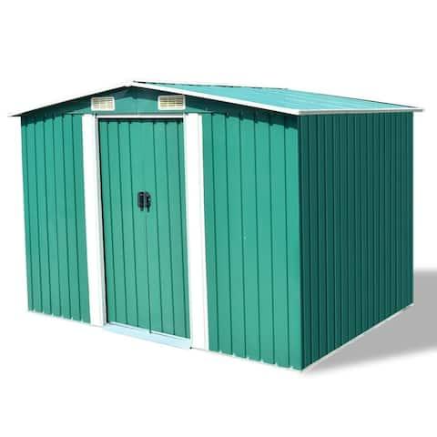 "vidaXL Garden Storage Shed Green Metal 101.2""x80.7""x70.1"""