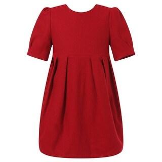 Richie House Baby Girls Red Pleat Details Elegant Dress 24M