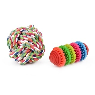 Dog Plastic Cotton Woven Knot Bone Chew Play Teeth Ball Toy Multicolor 2 In 1