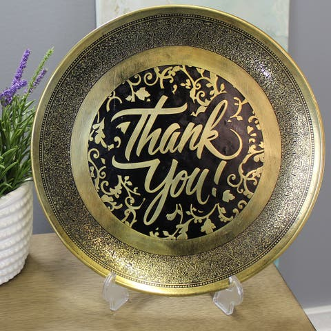 Natural Geo Decorative Brass Accent Plate - Thank You!