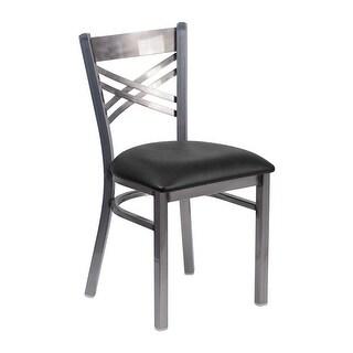 "Offex HERCULES Series Clear Coated ""X"" Back Metal Restaurant Chair - Black Vinyl Seat [OF-XU-6FOB-CLR-BLKV-GG]"