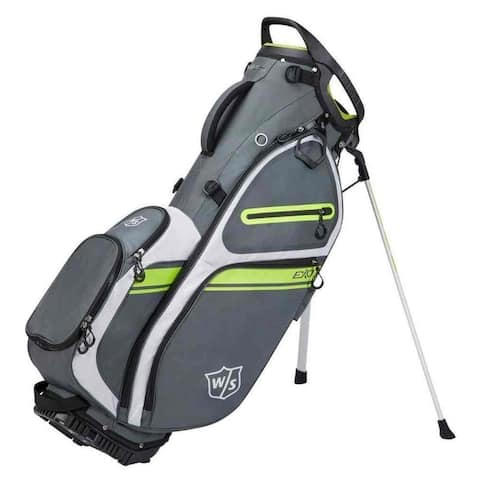Wilson Staff EXO II Stand Golf Bag, 5 Divided Club Sections- Charcoal/White/Lime - Gray