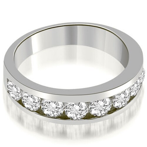 1.80 cttw. 14K White Gold Classic Channel Round Cut Diamond Wedding Band