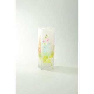 "11"" Clear and Green Floral Printed Square Flower Hand Blown Glass Vase"