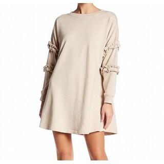 Solutions NEW Beige Womens Size Large L Ruffle-Trim Swing Sweater Dress