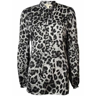 MICHAEL Michael Kors Women's Cheetah Print Bell-Sleeves Satin Blouse