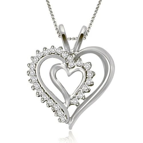0.25 cttw. 14K White Gold Round Cut Diamond Double Heart Shape Pendant