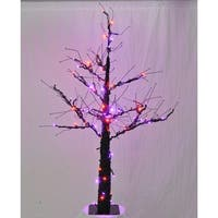 Christmas at Winterland WL-DTR-06-LPU/OR 6 Foot Pre-Lit Halloween Tree with Purple and Orange LED Lights - Purple/Orange - N/A