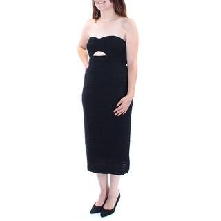 Womens Black Sleeveless Midi Sheath Cocktail Dress Size: 6