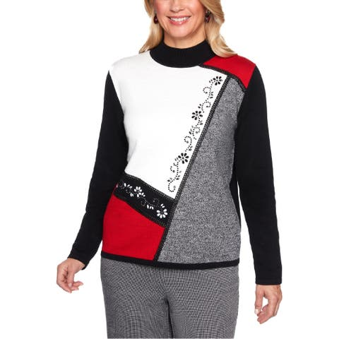 Alfred Dunner Womens Plus Pullover Sweater Colorblock Embellished - Multi - PL
