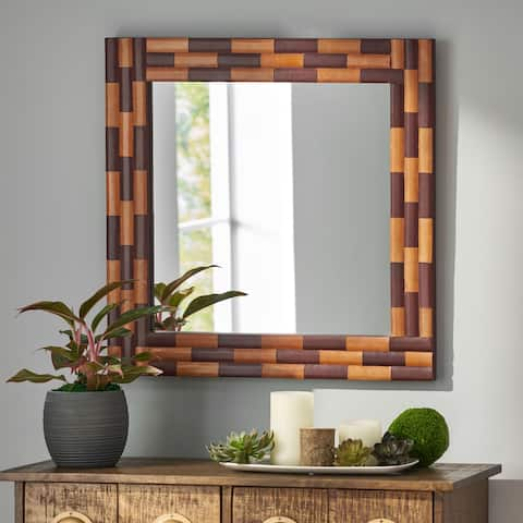 Blalock Indoor Leather Handcrafted Square Wall Mirror by Christopher Knight Home