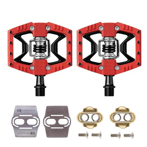 Crankbrothers Double Shot 3 Bike Pedals (Red/Black) with Cleats Bundle