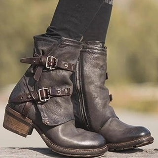 Link to Mid-Heel Martin Half Leather Boots Similar Items in Women's Shoes