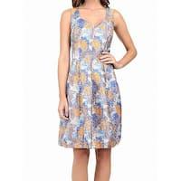 Adrianna Papell Blue Orange Womens Size 12 A-Line Jacquard Dress