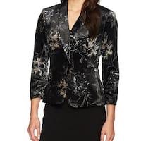 Kasper Black Womens Size 16 Velvet Floral Print Blazer Jacket