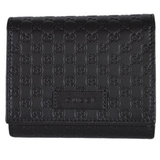 Gucci 510317 Black Leather Micro GG Guccissima Small French Wallet W/Coin