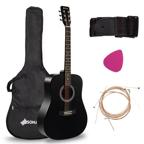 "Costway Sonart 41"" Acoustic Folk Guitar 6 String w/Case Strap Pick"