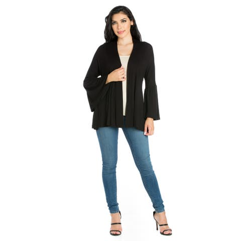 24seven Comfort Apparel Bell Sleeve Flared Open Front Cardigan