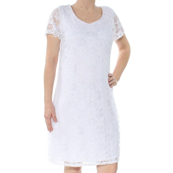cf31dbe4328fa NY COLLECTION Womens White Lace-overlay Short Sleeve Scoop Neck Knee Length  Sheath Party Dress Size: S