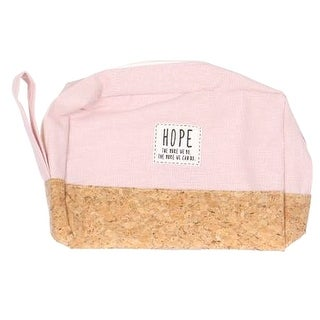 Girls Pink Beige Side Handle Zipper Hand Bag 13 3/4 inches x 15 3/4 inches - One size