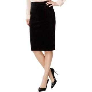 Calvin Klein Womens Pencil Skirt Faux Suede Knee-Length