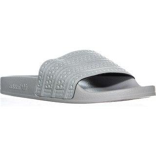 adidas Adilette Mens Slide Flat Sandals, Linen Green - 9 us