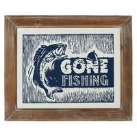 "Set of 2 Navy Blue and White ""Gone Fishing"" Wall Decor 13.5"""