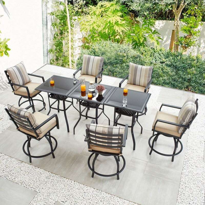 9-Piece Outdoor Patio Set with 3 Tables, 6 Swivel Bar Chairs
