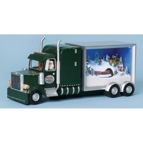 "12.5"" Vibrantly Colored Lighted Musical Truck Sleeper Santa Christmas Figure - green"
