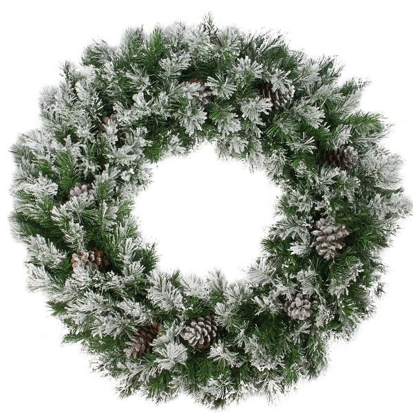 "36"" Flocked Angel Pine with Pine Cones Artificial Christmas Wreath - green"