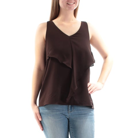 Womens Brown Sleeveless V Neck Casual Top Size 8