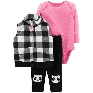 Carter's Baby Girls' 3-Piece Little Vest Set, Check Design