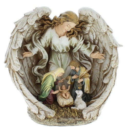 Guardian Angel Holy Family Christmas Nativity Resin Stoneware Scene