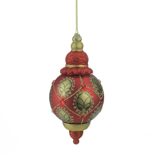"6.25"" Middle Eastern Style Transparent Red Glitter Finial Christmas Ornament"